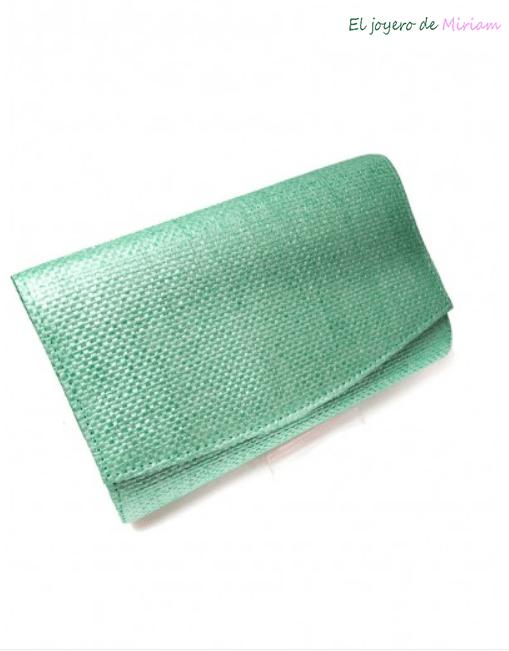 3a7e5128e56 Bolso fiesta rafia verde agua -