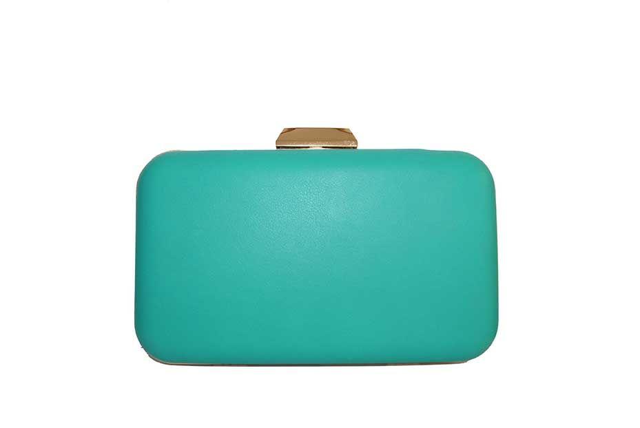 83a37e216 Bolso clutch verde agua -