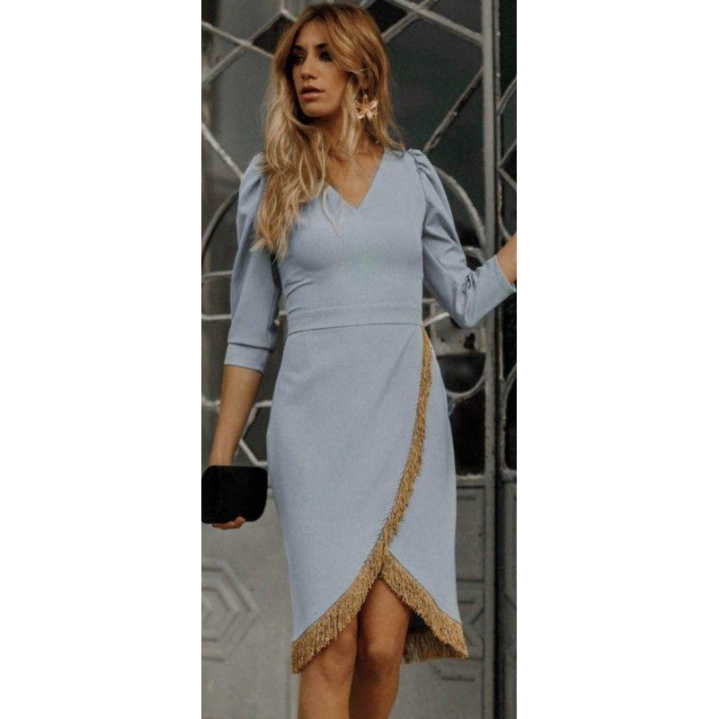Vestido Azul Celeste Y Flecos