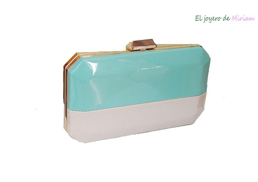 2fc6a9401 Clutch verde agua y beige -