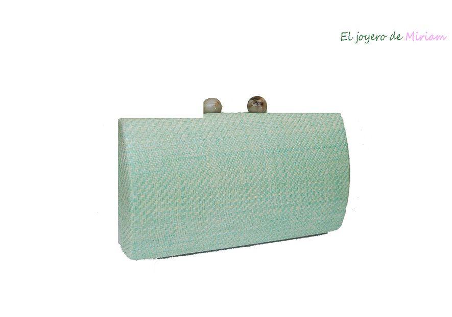 nuevo concepto 7d209 9f545 Bolso clutch rafia verde agua